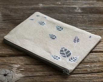 Linen and Cotton Zipper Pouch with Hand Painted Silver Metallic Leaves, Nature Inspired Accessories, Cosmetic Bag