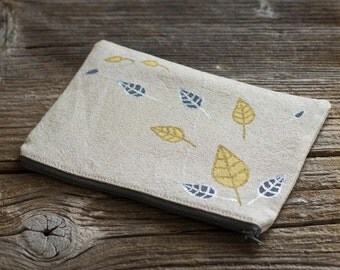 Linen and Cotton Zipper Pouch with Hand Painted Gold and Silver Metallic Leaves, Nature Inspired Accessories, Cosmetic Bag