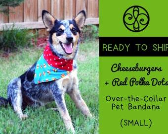 READY TO SHIP- Cheeseburgers Reversible Pet Bandana (Small)