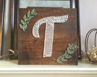 Made to order String art initial with leaves