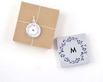 Personalized Monogrammed Coasters Christmas Gift Initial Wreath Personalized Birthday Gift Hostess Best Friend Gift Custom Letter, set of 2