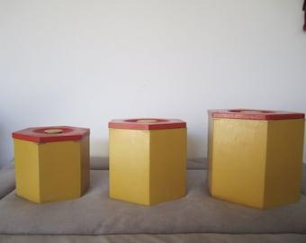 Vintage Canister Set of Three Wood Nesting Storage Boxes Orange and Yellow Kitchen Decor