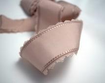 Mauve Pink Mokuba Ribbon, 2 Inch Dusty Rose Mokuba Ribbon, Scallop Edge Ribbon, Picot Ribbon, Light Pink Millinery Trim, Wide Taffeta Ribbon