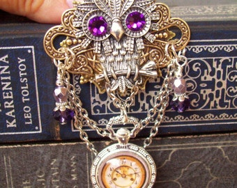 Steampunk Owl Brooch (P602) - Faux Brass Pocket Watch Pendant - Crystal Dangles and Silver Chain - Pin