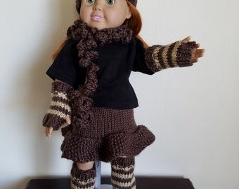 Taupe and Bone knit Set for 18 inch dolls, Hat, Armwarmers, Legwarmers, Skirt and Scarf