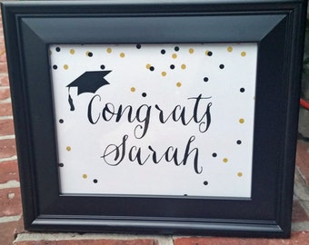 Personalized Graduation Sign - ANY Wording - Black Gold Confetti Collection