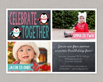 Twin Birthday Invitation, Sibling Birthday Invitation, Winter Wonderland, Christmas Birthday Invitation