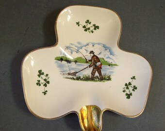 irish clover, Carrigaline Pottery shamrock dish, fisherman