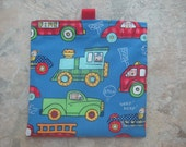 Vehicles - Reusable Snack Bag, Reusable Sandwich Bag with tabs, trucks, cars, trains, fire trucks