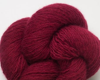 Deep Cranberry Red Cashmere Three Ply Heavy Lace Weight Recycled Yarn, 3158 Yards Available