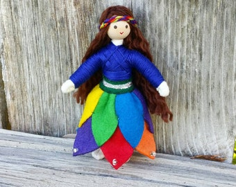 Fairy Doll - Rainbow Flower Doll - Bendy Doll - Princess Doll - Rainbow doll - Rainbow Fairy