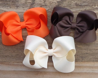 Set of 3 Fall Hair Bows~Autumn Hair Bows~Orange~Brown~Ivory Boutique Bow~Basic Fall Hair Bows~Simple Boutique Bow~Large Boutique Bows