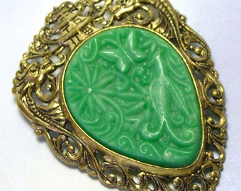 Antique Retro Old Carved Vintage Plastic Green ASIAN PENDANT, vintage oriental brooch, vintage plastic jewelry,  pagoda, dragons, butterfly