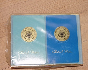 President Richard Nixon Presidential Yacht signed in gold script sealed double deck cards