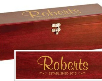 Family Name Design Wine Box With Tools - Rosewood Wine Box with Custom Engraving - Housewarming Gift Wine Box, Personalized Wine Gift