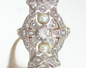 SOLD- Antique Edwardian Diamond and Pearl Dress Ring 14K