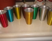 vintage lot 8 anodized aluminum drinking tumbers retro colored water set