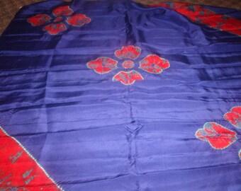 vintage ladies head neck scarf blue red flowers silk large