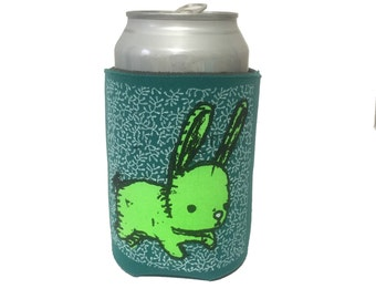 bunny can cooler (green/teal), bunny drink cozy, can holder, rabbit can coolie