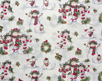 Christmas Fabric, Snowmen with Pets, Snowmen Fabric, Cats, and Dogs, Christmas Wreaths, Cotton fabric,  By the Yard
