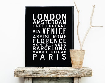 Travel/Honeymoon Destination Custom Bus Scroll