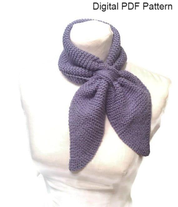 Knit Neck Scarf Pattern Ascot Knit Pattern Keyhole Scarf