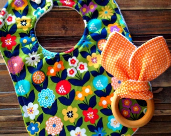 Organic Baby Girl Teething Ring and Bib Set Baby Shower or Birthday Gift