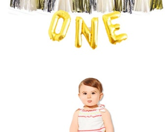 ONE Gold Mylar Balloons {1st  birthday decor} With custom Tassles, first birthday