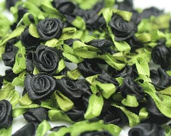 Black Satin Ribbon roses w/leaves-12mm-25 PCS.