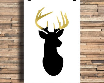 Deer Head With Faux Gold Foil Antlers, Home Decor, Wall Art, Wedding Gift, Housewarming Gift, Engagement Gift, Antlers, Gold, Nature