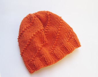 Cotton baby hat orange hand knitted