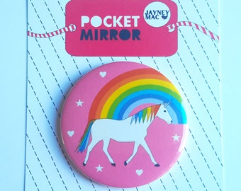 Unicorn Pocket Mirror- Rainbow and Unicorn Mirror