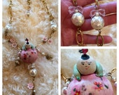 CHINOISERIE CHIC Assemblage Found object pincushion Upcycle necklace Kawaii style