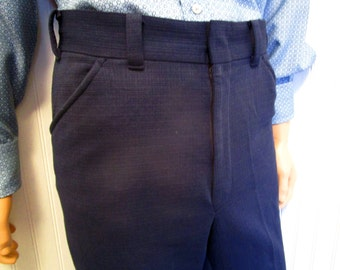 "70s 36"" x 28"" Montgomery Ward Polyester Knit Mens Flares Bell Bottom PANTS Navy Blue"