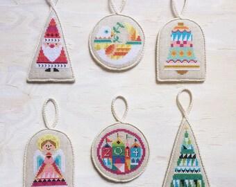 Ornament Set 1 OPTIONAL supplies : Satsuma Street Jody Rice counted cross stitch patterns Christmas Tree Winter December Mary Blair