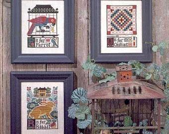 OOP P*Q*R Book No. 111 : Prairie Schooler folk art prim alphabet sampler hand embroidery
