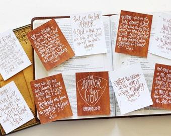 10 Armor of God Ephesians 6:10-19 Scripture Memory Verse 3x4 Copper Encouragement Cards Handlettered DIGITAL Download Bible Verse Notecards