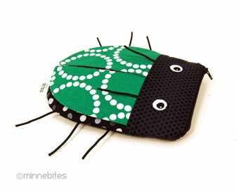Beetle Pouch by MinneBites / Emerald Green Boys Toiletry Kit - Pencil Case - Handmade Bug Toy Bag - Insect Pencil Bag - Back to School Pouch