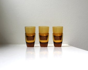 Mid Century Amber Shot Glasses Set of 6 Cordial Glasses Barware Danish Modern