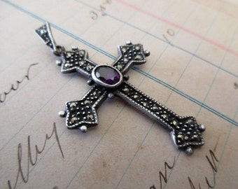 sterling silver cross with marcasites and amethyst -religious, Christian, 925