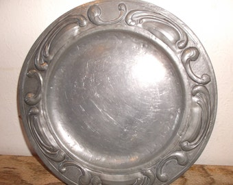 Antique French Art Nouveau Pewter Plate Arts and Crafts Scrolled Pewter Tray Dish