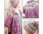 2in1 - Summer Cardigan with Flowers and Summer Hat with Flowers - Instant Download 2 Pdfs