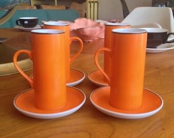 Set Of 4 Lagardo Tackett Irish Coffee Cups With Saucers