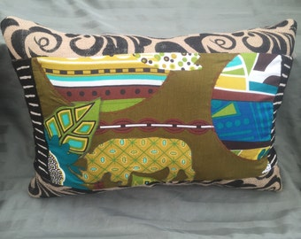 Rhino Pillow - Bright Abstract Decor -One Of A Kind Quilted Pillow