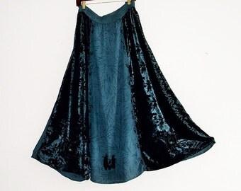 SALE 30% Off Bohemian 70s inspired Maxi burnout velvet chiffon Skirt