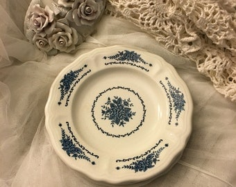 """Vintage blue and white ironstone plates, french blue ironstone plates , 7.5"""" ironstone plates (4 plates)"""