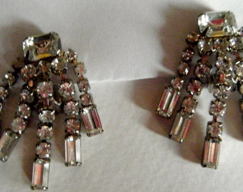 Rhinestone Chandelier Clip Earrings Vintage  // Black Tie, Prom, Bridal 1940's  Jewelry