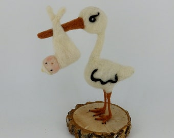 """Vintage Inspired Stork Baby Shower Cake Topper 6-1/4"""" wool needle felted vintage inspired from Spun cotton Candy Container - Mr Stork Small"""