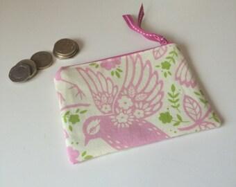 coin purse pink bird
