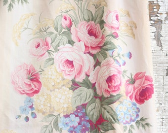 Pink Cabbage Rose and Lilac Floral Vintage Barkcloth Drapes Drapery Panel Curtains